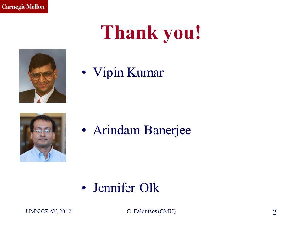 CMU SCS Thank you! Vipin Kumar Arindam Banerjee Jennifer Olk UMN CRAY, 2012C. Faloutsos (CMU) 2