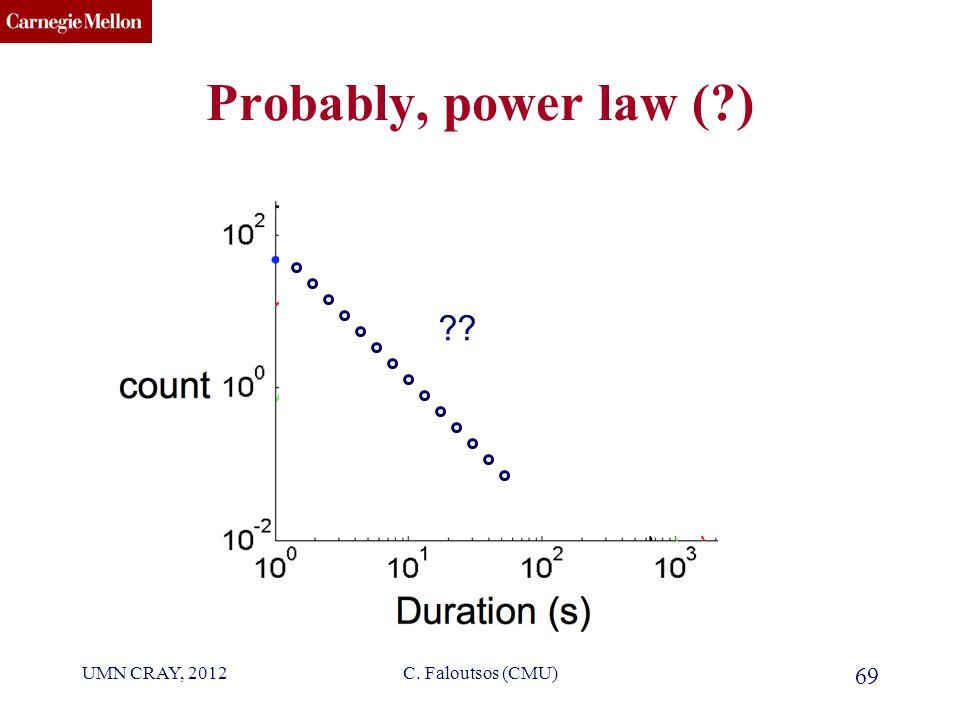 CMU SCS Probably, power law ( ) UMN CRAY, 2012C. Faloutsos (CMU) 69