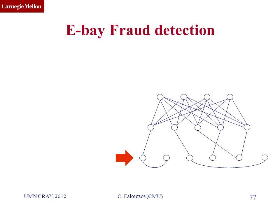 CMU SCS UMN CRAY, 2012C. Faloutsos (CMU) 77 E-bay Fraud detection