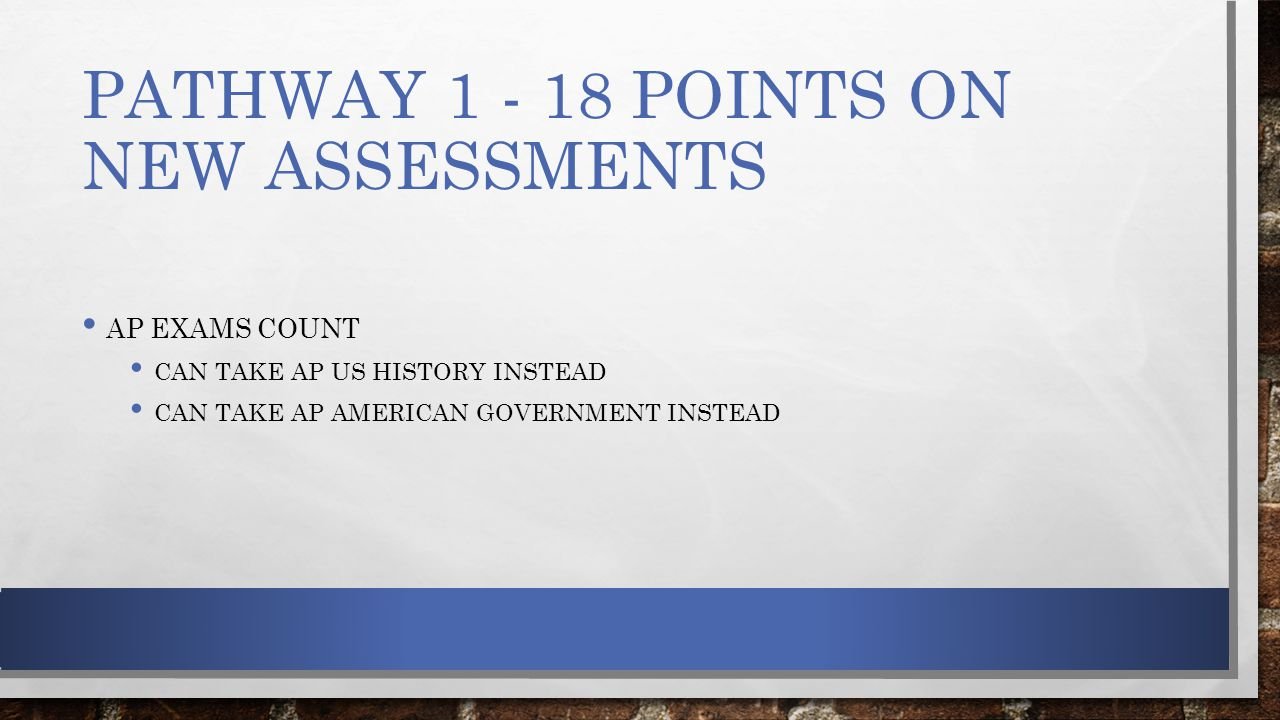 PATHWAY 1 - 18 POINTS ON NEW ASSESSMENTS AP EXAMS COUNT CAN TAKE AP US HISTORY INSTEAD CAN TAKE AP AMERICAN GOVERNMENT INSTEAD