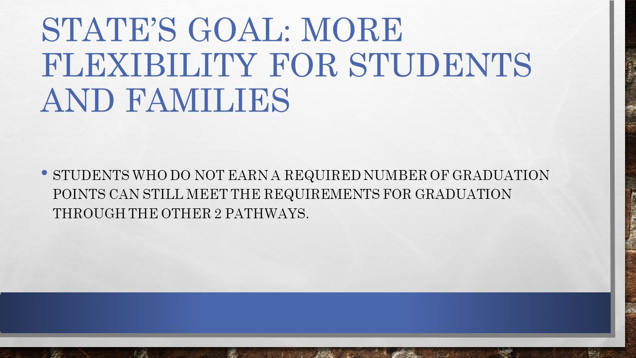 STATE'S GOAL: MORE FLEXIBILITY FOR STUDENTS AND FAMILIES STUDENTS WHO DO NOT EARN A REQUIRED NUMBER OF GRADUATION POINTS CAN STILL MEET THE REQUIREMENTS FOR GRADUATION THROUGH THE OTHER 2 PATHWAYS.