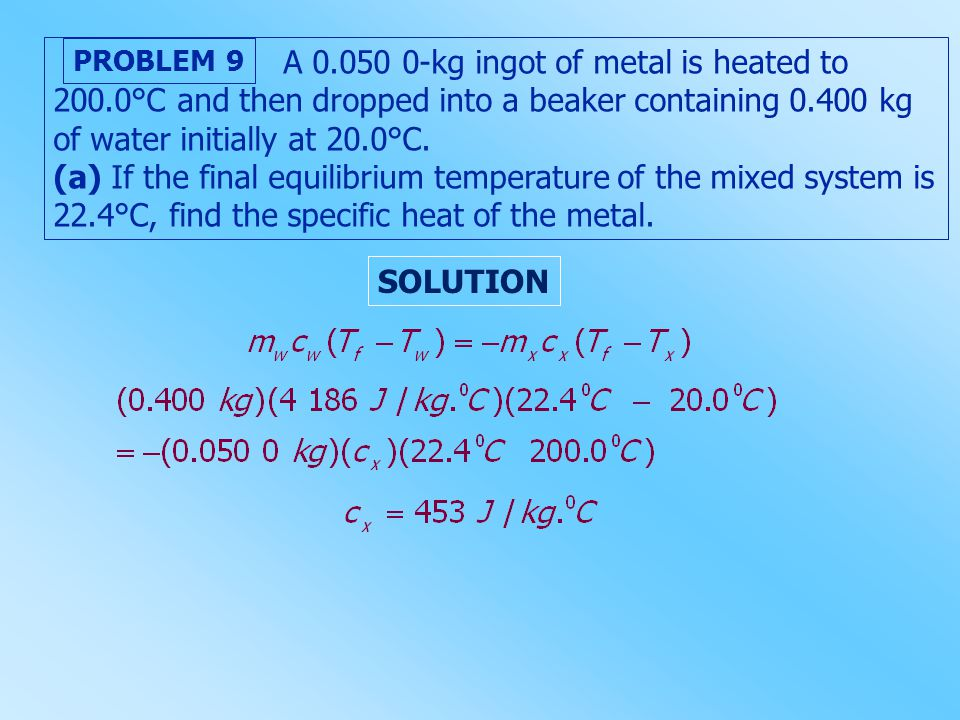 A 0.050 0-kg ingot of metal is heated to 200.0°C and then dropped into a beaker containing 0.400 kg of water initially at 20.0°C. (a) If the final equ