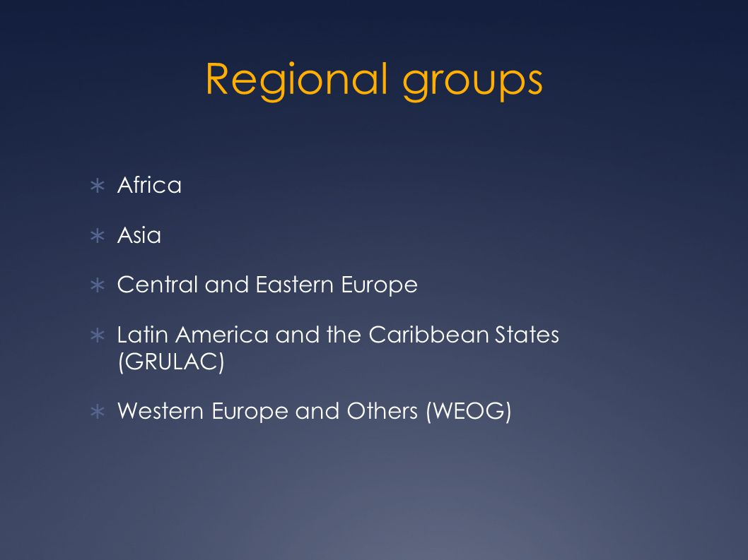 Regional groups  Africa  Asia  Central and Eastern Europe  Latin America and the Caribbean States (GRULAC)  Western Europe and Others (WEOG)