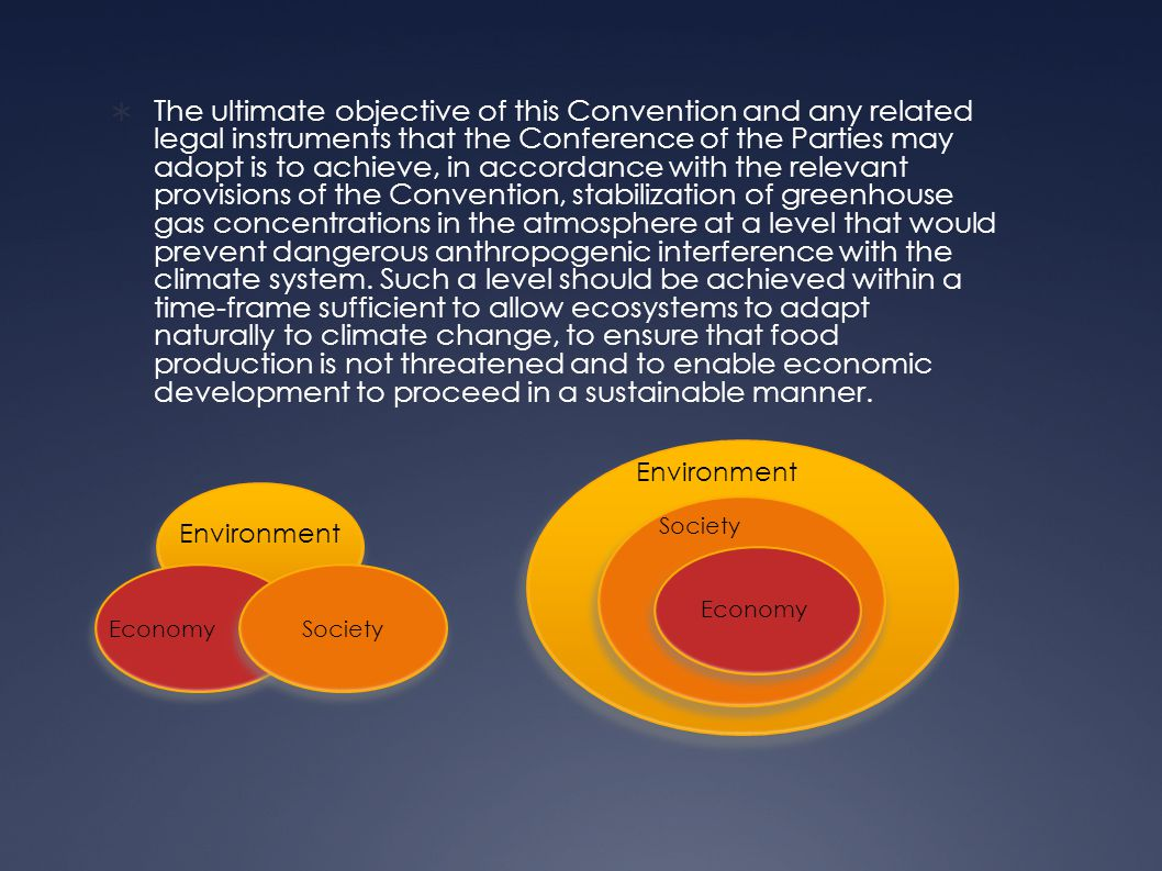  The ultimate objective of this Convention and any related legal instruments that the Conference of the Parties may adopt is to achieve, in accordance with the relevant provisions of the Convention, stabilization of greenhouse gas concentrations in the atmosphere at a level that would prevent dangerous anthropogenic interference with the climate system.