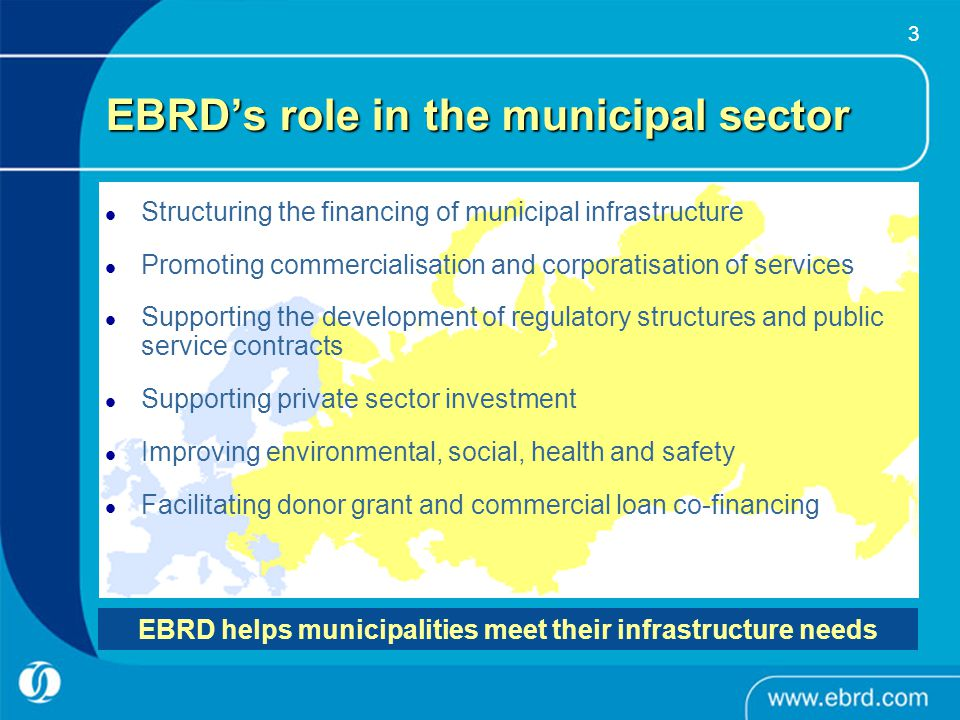 4 Key sectors covered Water & Wastewater – improved quality of service and environmental compliance Urban Transport – improved public transport services (buses, LRT, metro, ferries, etc.) and more efficient and safe network design Solid Waste Management – improved efficiency and frequency of collection; adequate disposal; prevention of groundwater contamination District Heating – renewal of obsolete heating and distribution systems to promote efficiency gains