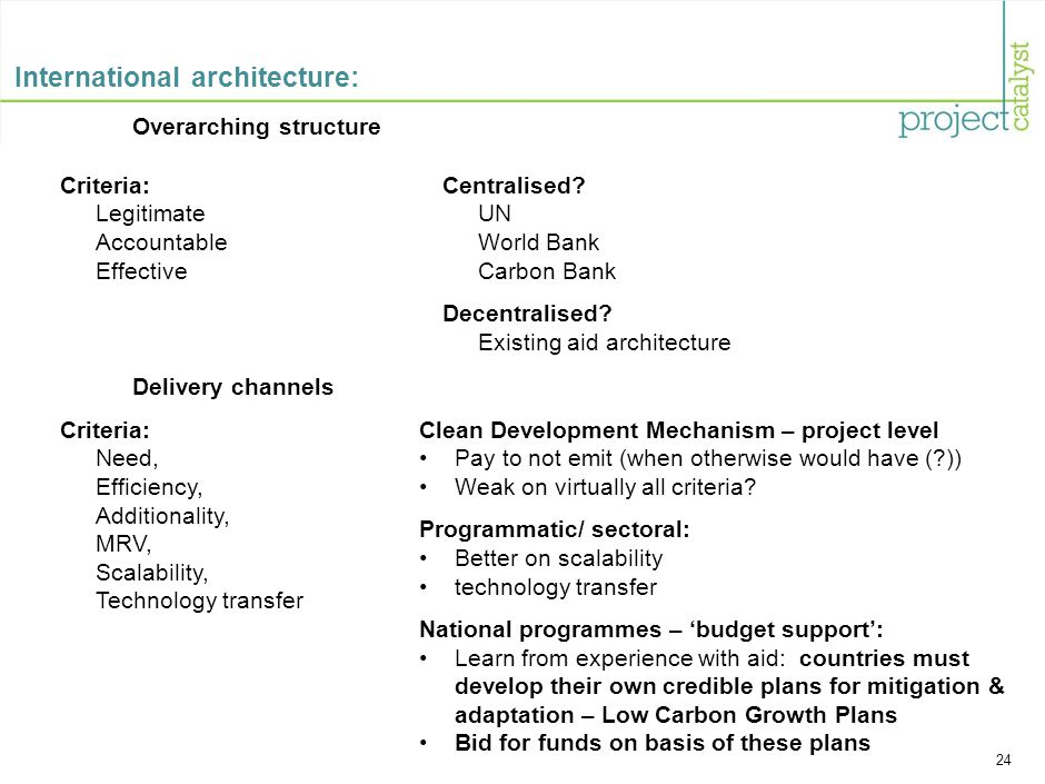 24 International architecture: Overarching structure Criteria: Need, Efficiency, Additionality, MRV, Scalability, Technology transfer Clean Development Mechanism – project level Pay to not emit (when otherwise would have (?)) Weak on virtually all criteria.
