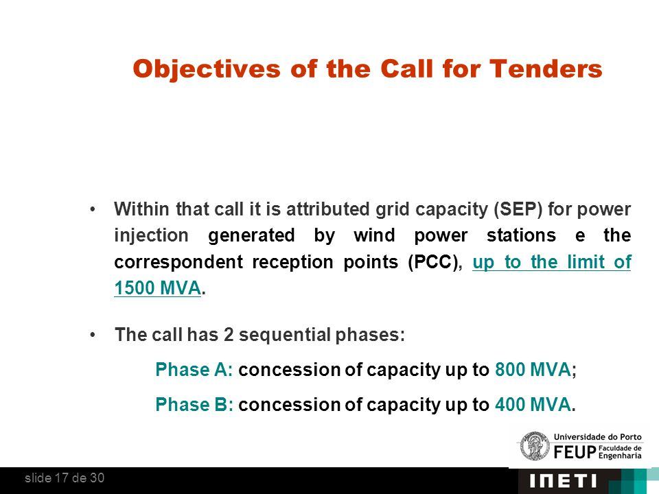 Objectives of the Call for Tenders Within that call it is attributed grid capacity (SEP) for power injection generated by wind power stations e the co