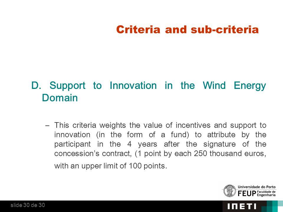 Criteria and sub-criteria D.