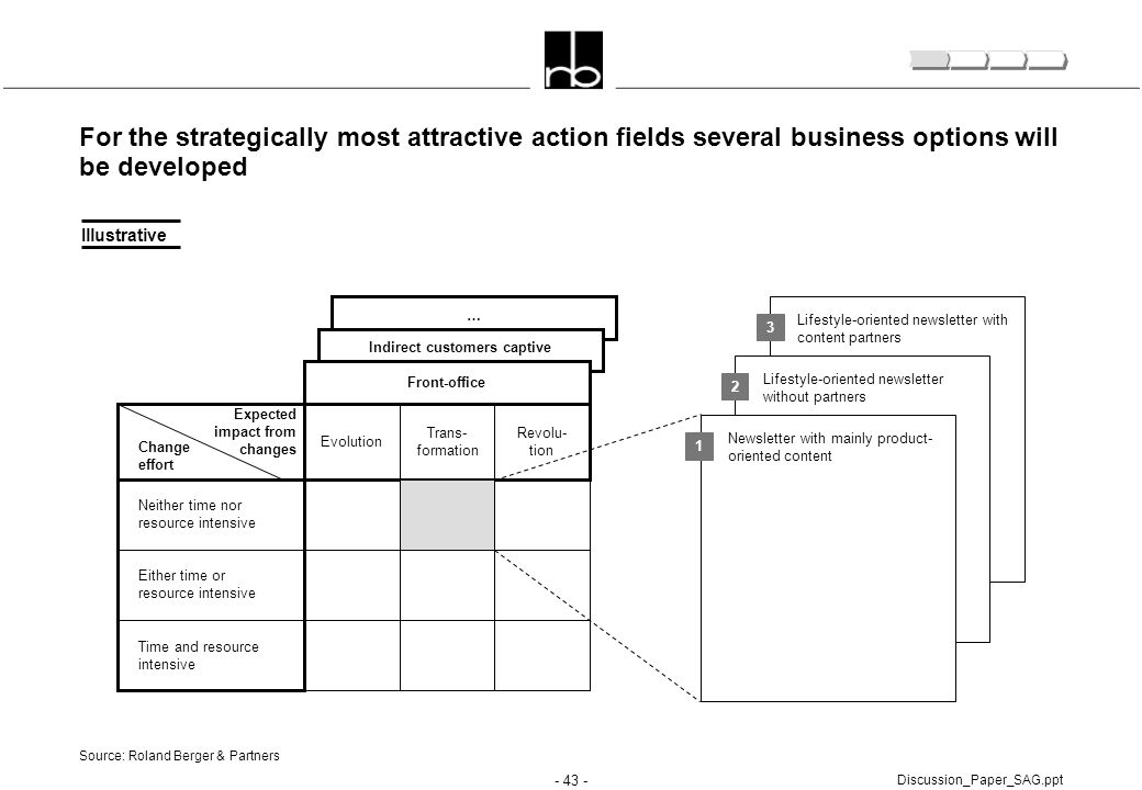 - 43 - Discussion_Paper_SAG.ppt For the strategically most attractive action fields several business options will be developed Source: Roland Berger &
