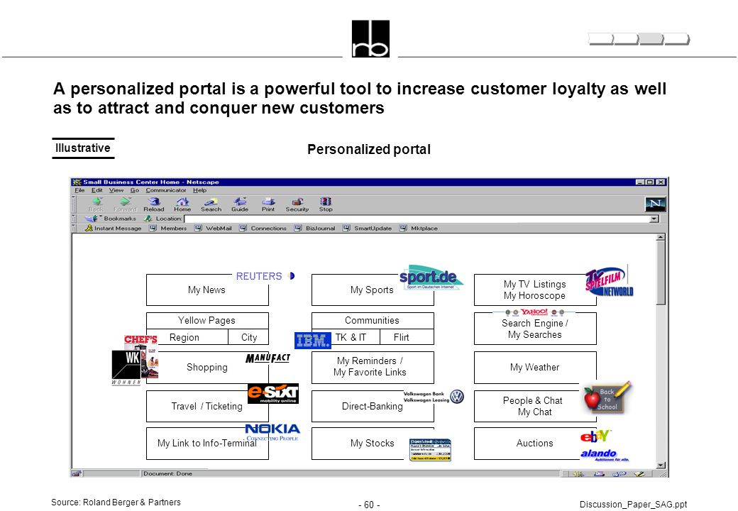 - 60 - Discussion_Paper_SAG.ppt A personalized portal is a powerful tool to increase customer loyalty as well as to attract and conquer new customers