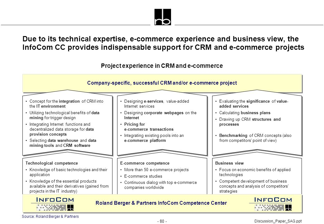 - 80 - Discussion_Paper_SAG.ppt Due to its technical expertise, e-commerce experience and business view, the InfoCom CC provides indispensable support