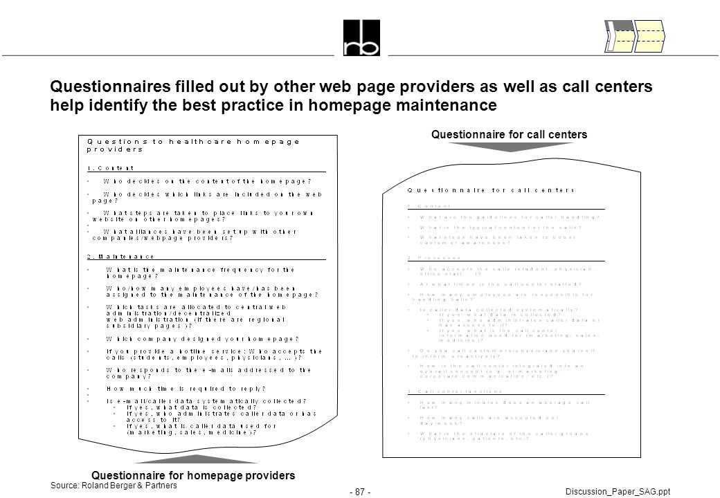 - 87 - Discussion_Paper_SAG.ppt Source: Roland Berger & Partners Questionnaires filled out by other web page providers as well as call centers help id