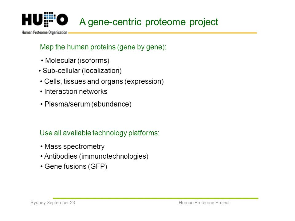 A gene-centric proteome project Map the human proteins (gene by gene): Molecular (isoforms) Sub-cellular (localization) Cells, tissues and organs (exp