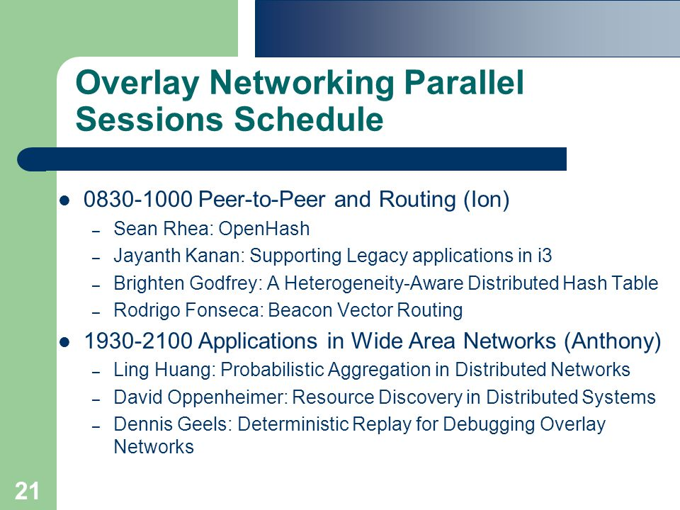 21 Overlay Networking Parallel Sessions Schedule 0830-1000 Peer-to-Peer and Routing (Ion) – Sean Rhea: OpenHash – Jayanth Kanan: Supporting Legacy applications in i3 – Brighten Godfrey: A Heterogeneity-Aware Distributed Hash Table – Rodrigo Fonseca: Beacon Vector Routing 1930-2100 Applications in Wide Area Networks (Anthony) – Ling Huang: Probabilistic Aggregation in Distributed Networks – David Oppenheimer: Resource Discovery in Distributed Systems – Dennis Geels: Deterministic Replay for Debugging Overlay Networks