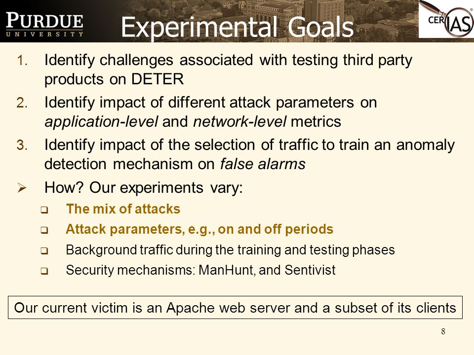 8 Experimental Goals 1. Identify challenges associated with testing third party products on DETER 2. Identify impact of different attack parameters on