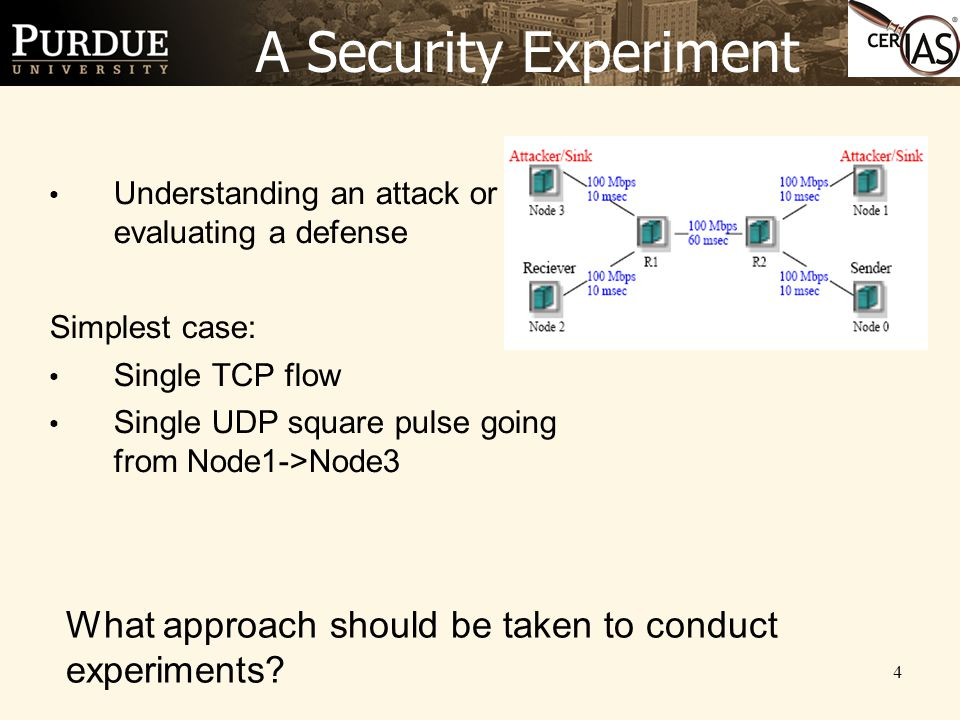 4 A Security Experiment Understanding an attack or evaluating a defense Simplest case: Single TCP flow Single UDP square pulse going from Node1->Node3