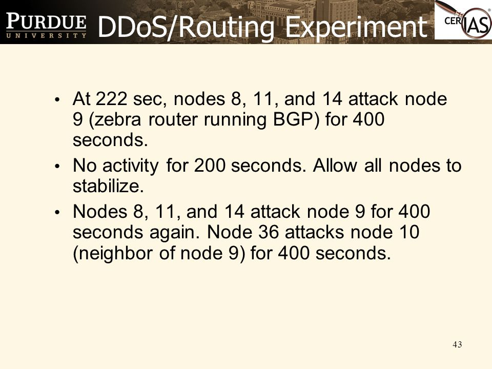 43 DDoS/Routing Experiment At 222 sec, nodes 8, 11, and 14 attack node 9 (zebra router running BGP) for 400 seconds.