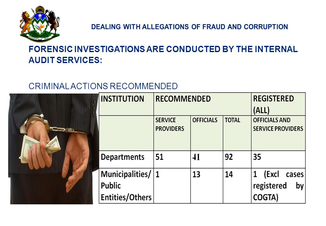 21 FORENSIC INVESTIGATIONS ARE CONDUCTED BY THE INTERNAL AUDIT SERVICES: CRIMINAL ACTIONS RECOMMENDED