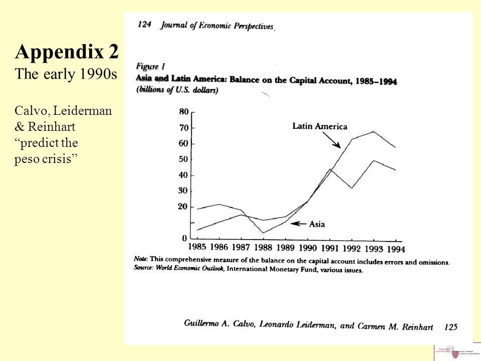 "Appendix 2 The early 1990s Calvo, Leiderman & Reinhart ""predict the peso crisis"""