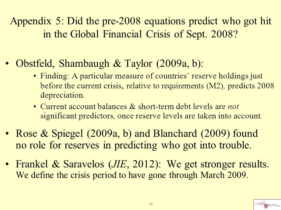28 Appendix 5: Did the pre-2008 equations predict who got hit in the Global Financial Crisis of Sept.