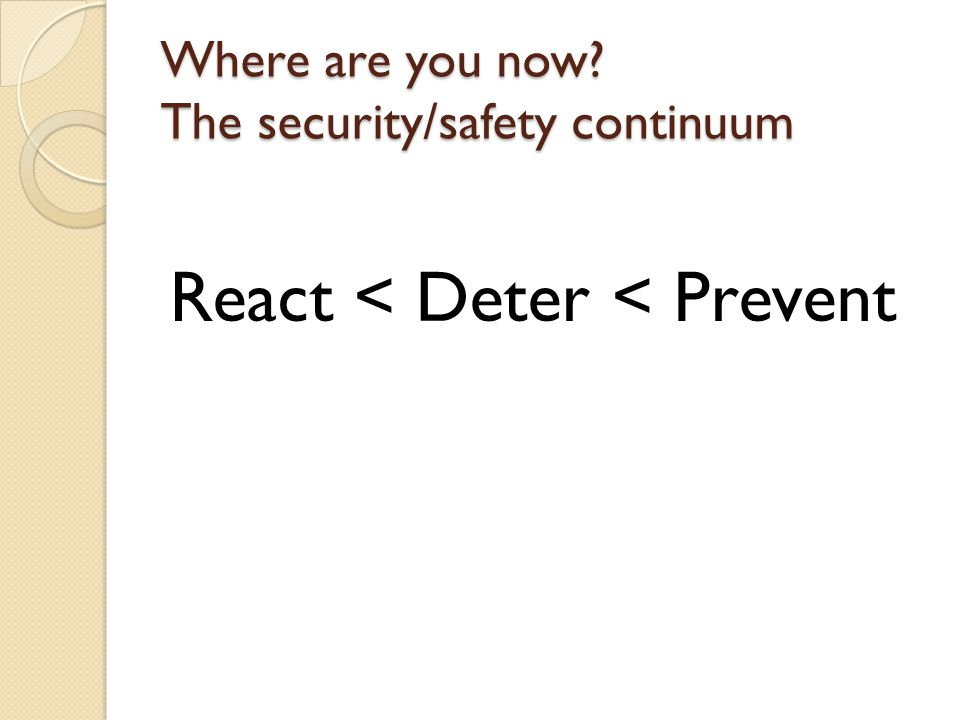 Safety & Security @ your library: Assess Vary type, timing ◦ Announced and unannounced ◦ Written and observation ◦ Start simple  One question via email (documented) Be reasonable and realistic Use the tool properly Don't let perfection be the enemy of completion.