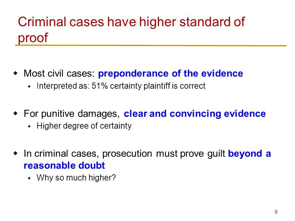9  Most civil cases: preponderance of the evidence  Interpreted as: 51% certainty plaintiff is correct  For punitive damages, clear and convincing