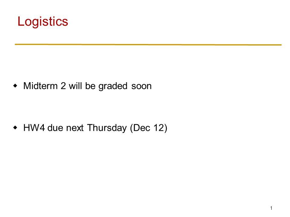 1  Midterm 2 will be graded soon  HW4 due next Thursday (Dec 12) Logistics