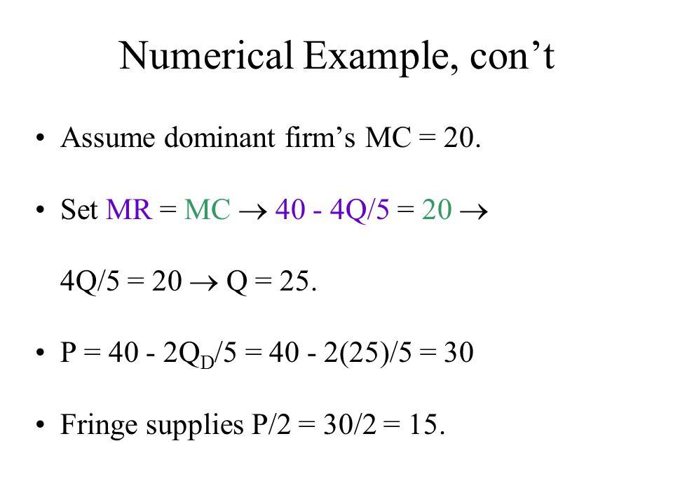 Numerical Example, con't Assume dominant firm's MC = 20. Set MR = MC  40 - 4Q/5 = 20  4Q/5 = 20  Q = 25. P = 40 - 2Q D /5 = 40 - 2(25)/5 = 30 Fring