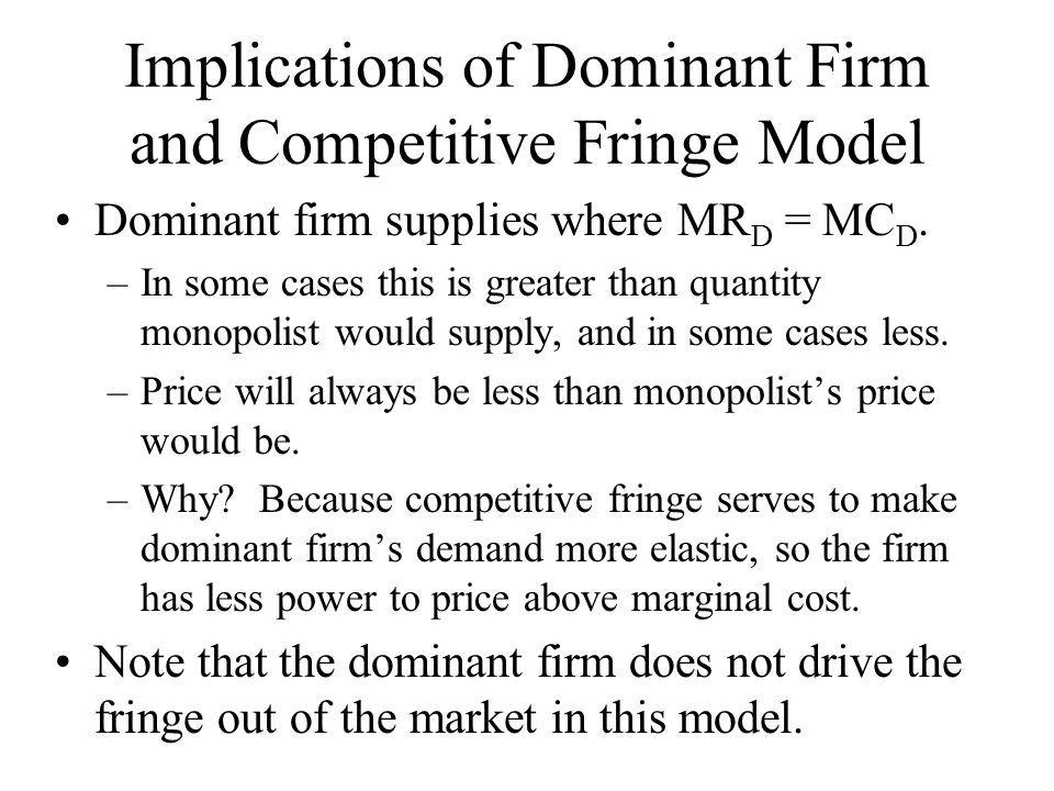 Numerical Example D(P) = 100 - 2P.Competitive fringe supply = P/2.