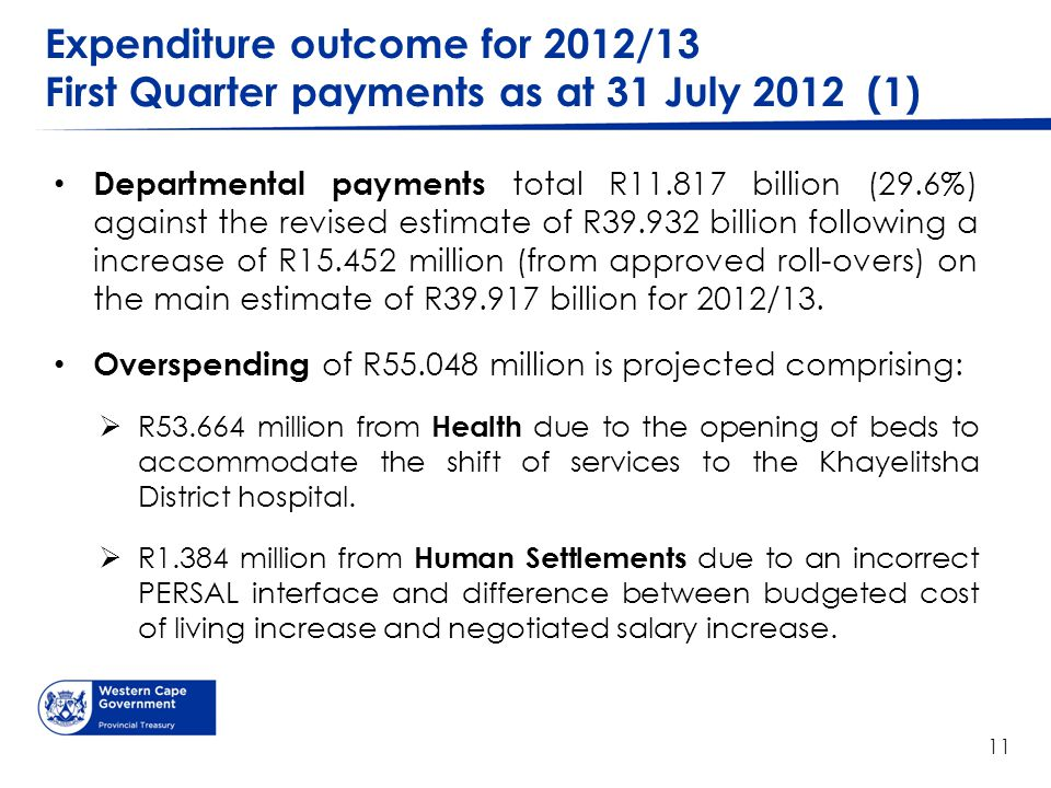 Expenditure outcome for 2012/13 First Quarter payments as at 31 July 2012 (1) Departmental payments total R11.817 billion (29.6%) against the revised