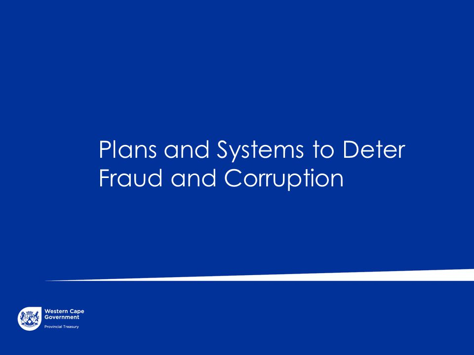 Plans and Systems to Deter Fraud and Corruption
