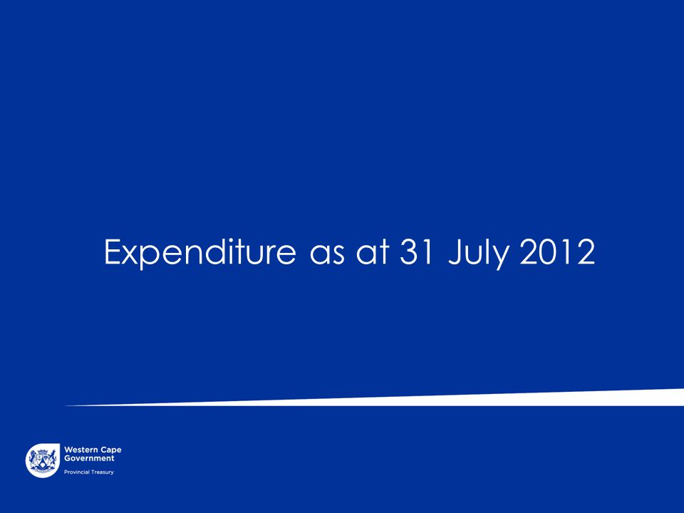 Expenditure as at 31 July 2012