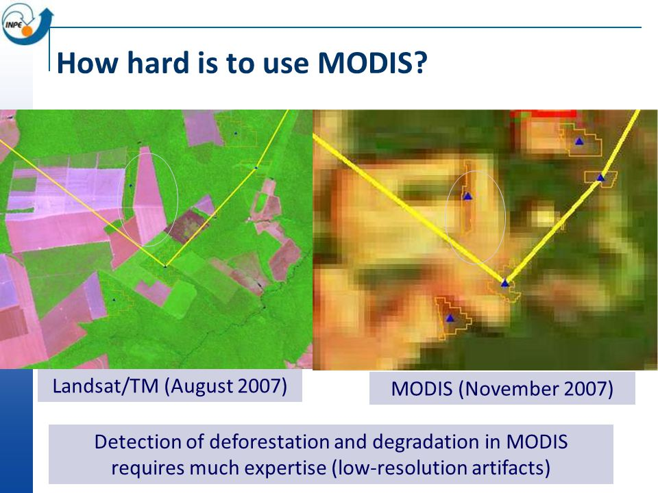 Alerta DETER nov-2007 Landsat/TM (August 2007) MODIS (November 2007) How hard is to use MODIS.