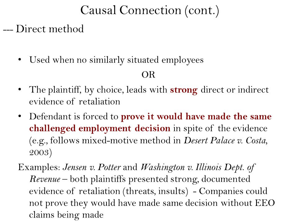 --- Direct method Used when no similarly situated employees OR The plaintiff, by choice, leads with strong direct or indirect evidence of retaliation