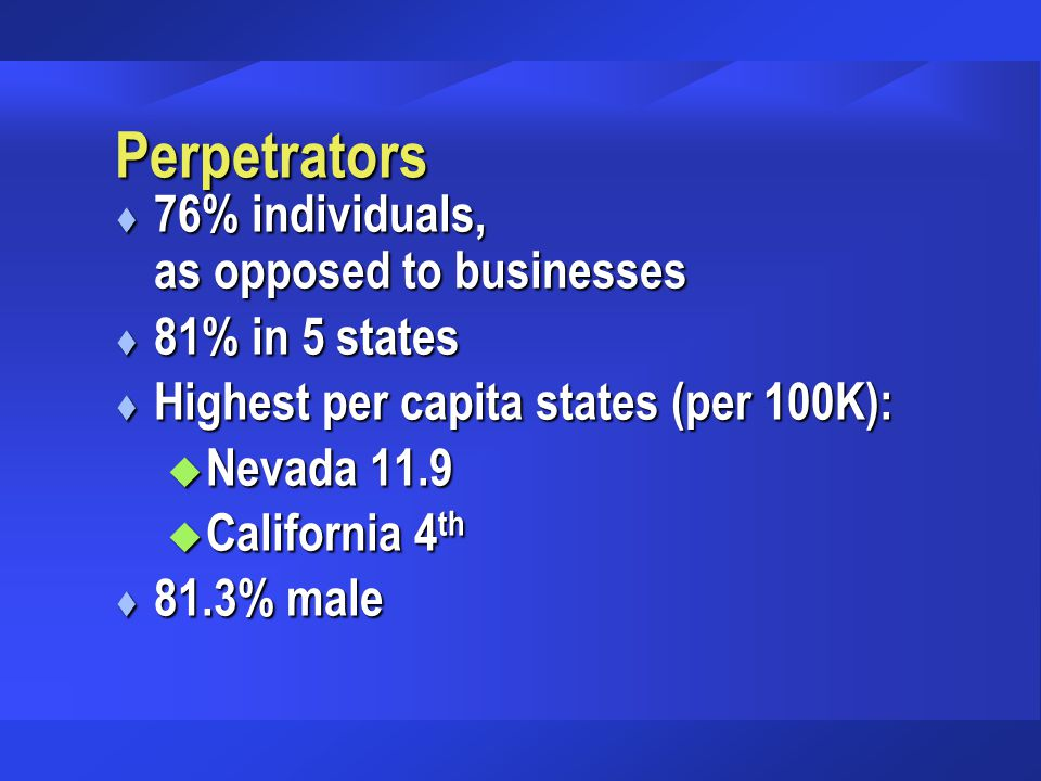 Perpetrators t 76% individuals, as opposed to businesses t 81% in 5 states t Highest per capita states (per 100K): u Nevada 11.9 u California 4 th t 8