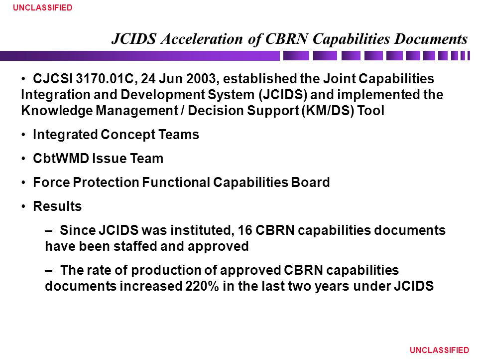 UNCLASSIFIED JCIDS Acceleration of CBRN Capabilities Documents CJCSI 3170.01C, 24 Jun 2003, established the Joint Capabilities Integration and Develop