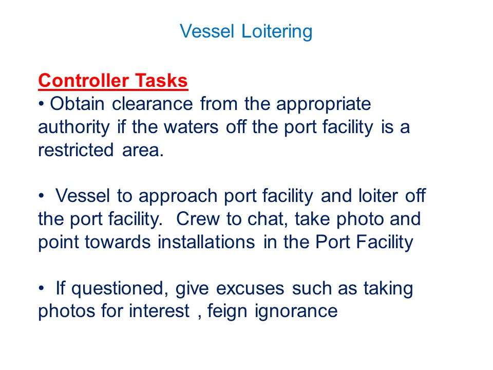 Vessel Loitering Controller Tasks Obtain clearance from the appropriate authority if the waters off the port facility is a restricted area.