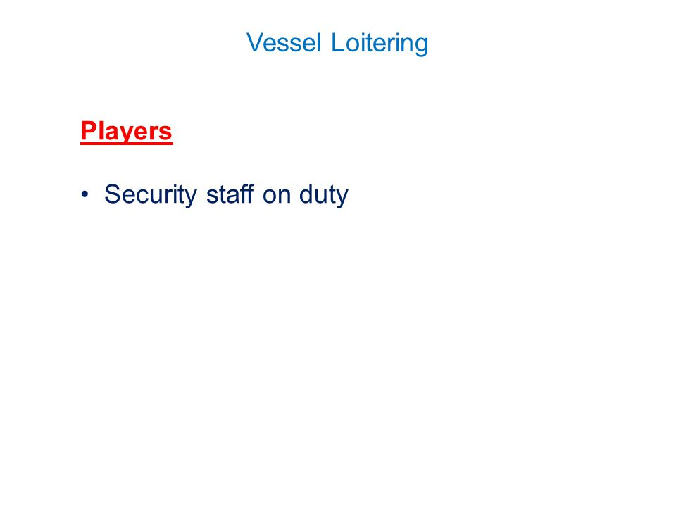 Vessel Loitering Players Security staff on duty