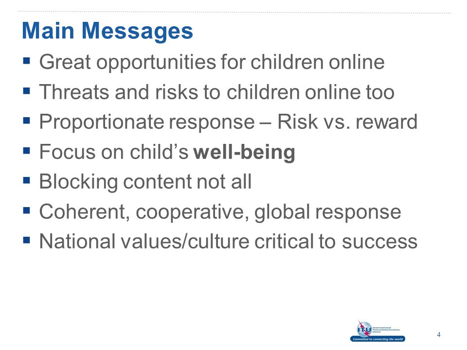 Online Child Protection Strategy  Strategy defined as:  A Complex decision-making process that connects the Ends sought (objectives) with the Ways and the Means of achieving those ends, Drew and Snow (2006)  Thus, an online child protection strategy is:  A nationally-led and globally harmonised effort to build human and institutional capacity to prevent, detect, react and deter online risks to children  Online risks may translate into offline harm  Thus, address risks to children online and offline 5