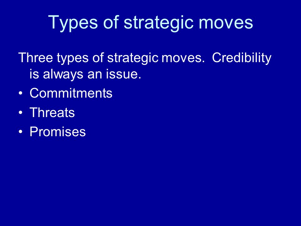 Types of strategic moves Three types of strategic moves.
