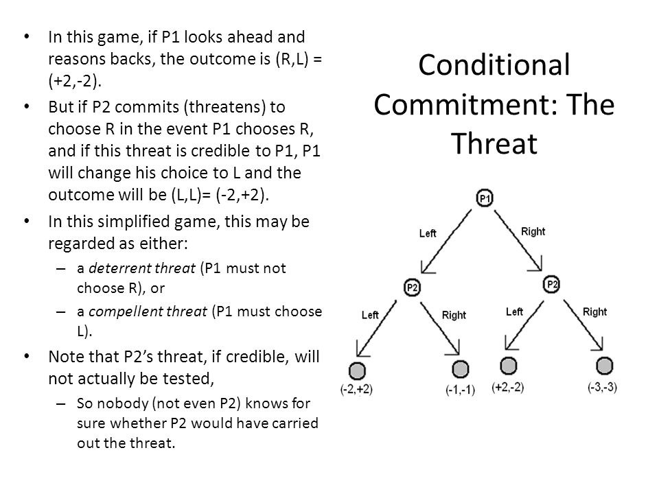 Conditional Commitment: The Threat In this game, if P1 looks ahead and reasons backs, the outcome is (R,L) = (+2,-2). But if P2 commits (threatens) to