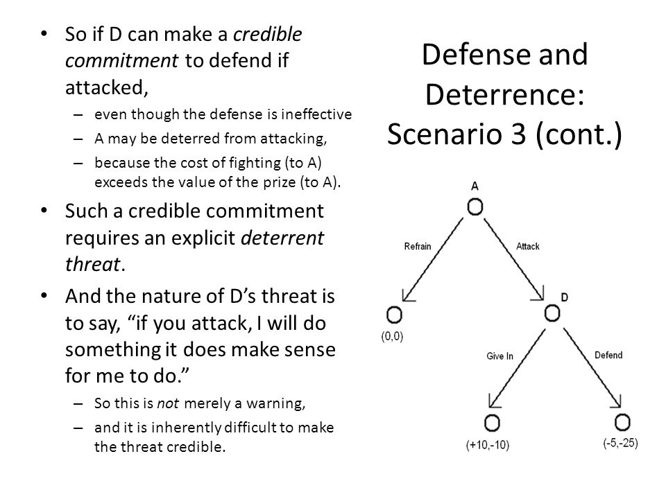Defense and Deterrence: Scenario 3 (cont.) So if D can make a credible commitment to defend if attacked, – even though the defense is ineffective – A may be deterred from attacking, – because the cost of fighting (to A) exceeds the value of the prize (to A).