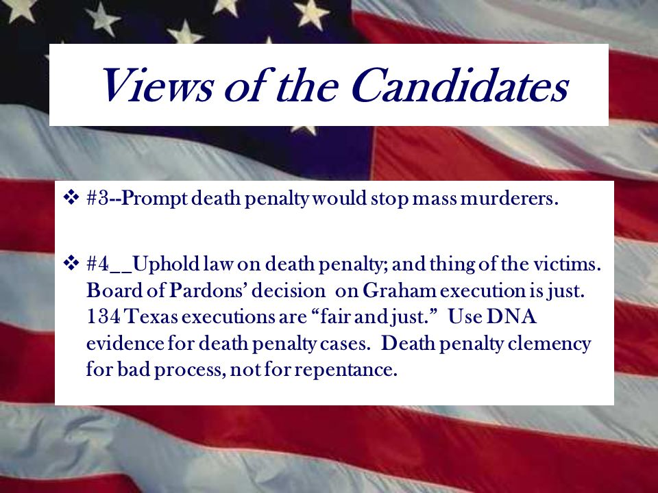 The Views of the Candidates  #1--The death penalty does not deter.