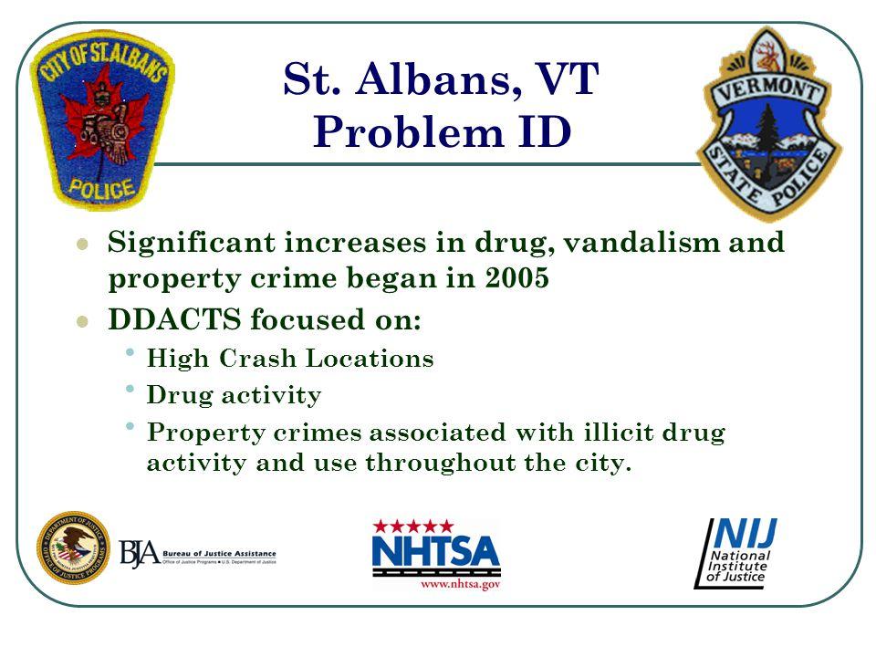 St. Albans, VT Problem ID Significant increases in drug, vandalism and property crime began in 2005 DDACTS focused on: High Crash Locations Drug activ