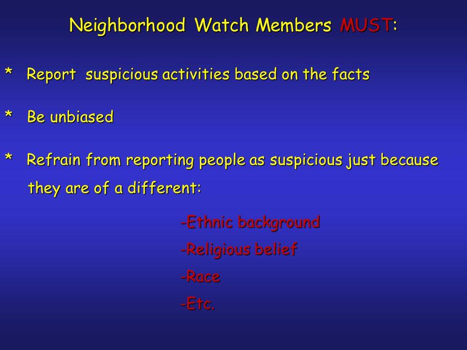 Neighborhood Watch Captain's responsibilities Helps organize Neighborhood Watch.