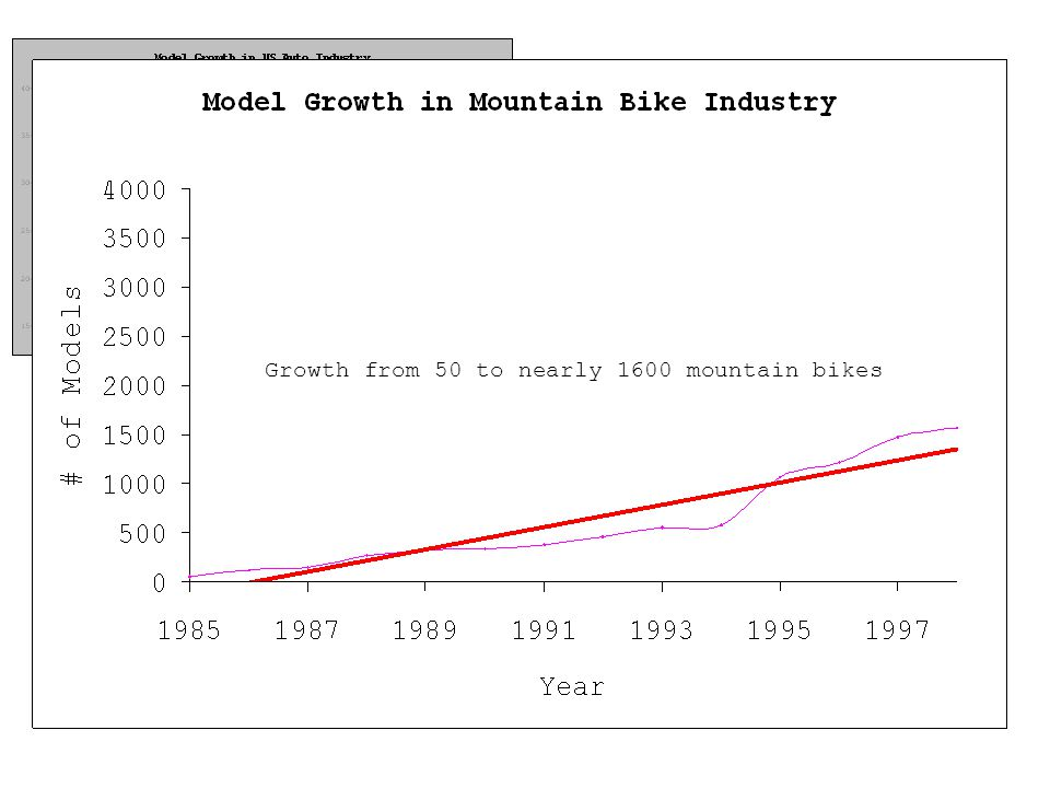 Growth from 50 to nearly 1600 mountain bikes