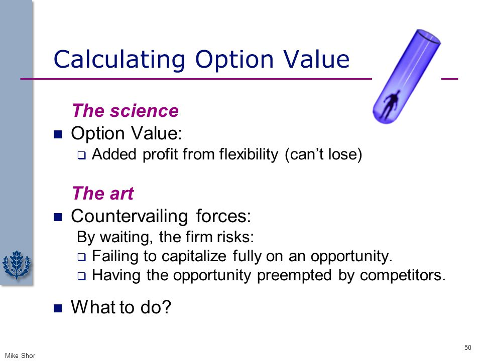 Calculating Option Value The science Option Value:  Added profit from flexibility (can't lose) The art Countervailing forces: By waiting, the firm ri