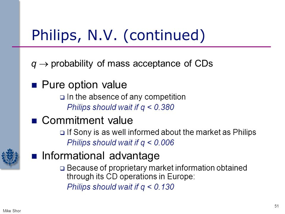 Philips, N.V. (continued) q  probability of mass acceptance of CDs Pure option value  In the absence of any competition Philips should wait if q < 0