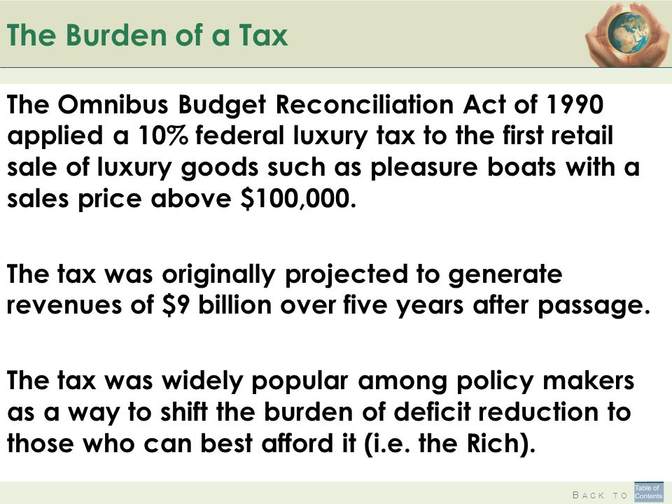 B ACK TO The Burden of a Tax The Omnibus Budget Reconciliation Act of 1990 applied a 10% federal luxury tax to the first retail sale of luxury goods s