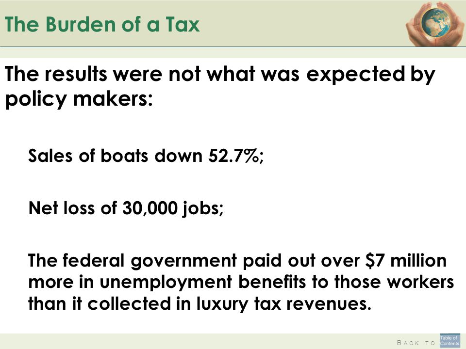 B ACK TO The Burden of a Tax The results were not what was expected by policy makers: Sales of boats down 52.7%; Net loss of 30,000 jobs; The federal